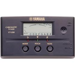 Yamaha YT-250 Chromatic Tuner - [Yamaha YT-250 Tuner] -------------------------------------------------------- [The Yamaha YT-250 Tuner features a high-resolution LCD meter display for quick, accurate tuning and sharp/flat/in-tune LEDs for tuning in the dark. It tunes any instrument across 8 octaves. The Yamaha tuner has both a condenser microphone and In/Out jacks for tuning virtually any musical instrument in either Auto or Manual mode. A pitch-shift feature allows off-center tuning from 435-446Hz in 1Hz increments and a tilt slot in the back lets you position the tuner for easy viewing.]........................................................................ - [High-resolution LCD meter display] - [Sharp/flat/in-tune LEDs for tuning in the dark] - [Tunes any instrument across 8 octaves] - [Condenser microphone and In/Out jacks for tuning virtually any musical instrument] - [Auto and Manual modes]- [Pitch-shift feature allows off-center tuning from 435-446Hz in 1Hz increments] - [Tilts for easy viewing] - [Includes 2-year warranty and battery]