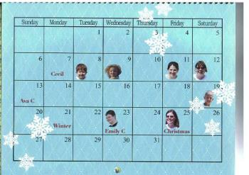 December 2009 Calendar - My family birthdays in December