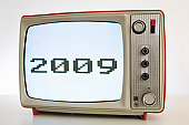2009 - illustration of A television with a black and white image of '2009'