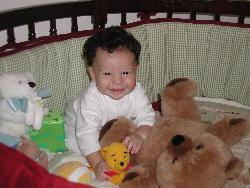 Arik in his Crib