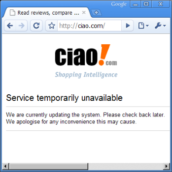 Ciao Offline Page - Ciao is offline for today.