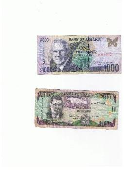Jamaican currency - the Ja$1000 dollarbbill and Ja$100 dollar bill