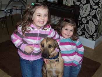 my girls and my dog - my eldest daughter Lauren my youngest daughter Becca and our dog Milo