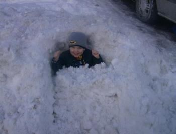 My 2 year old - My toddler buried in the snow