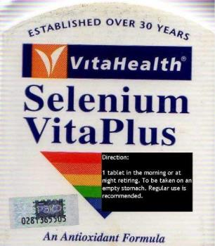 An Antioxidant - [VitaHealth Selenium VitaPlus is a complete antioxidant formula. It contains antioxidants vitamins A, C, E, Selenium and Zinc and other nutrients to enhance the activity of powerful antioxidant enzymes glutathione peroxidase and superoxide dismutase, which protect our body from free radical damage.] - [Directions 1 tablet in the morning or at night before retiring. To be taken on an empty stomach. Regular use is recommended.] - [Ingredients Selenium yeast, Vitamin A, Vitamin C, Vitamin E, Vitamin B6, Zinc, Magnesium, Manganese, Molybdenum]