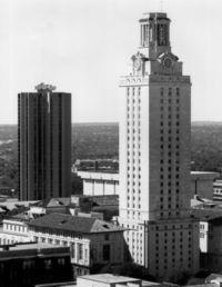 the UT tower - it is really kind of a whiteish/tan limestone