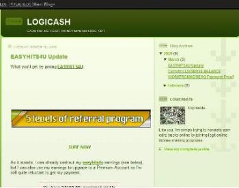 blog - In this particular picture is a blog. This blog is called logicash. Its a blog primarily about legit online earning programs.