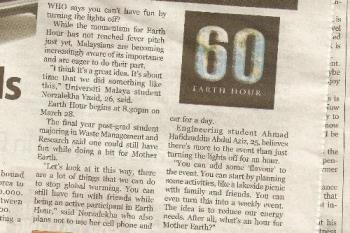 Earth Hour article - What you can do?