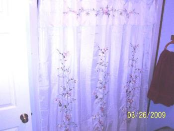 My New Shower Curtain - This picture didn't turn out as I expected it to but you can pretty much tell what it looks like. It's a sheer curtain so I had to get a liner for it. It's a ribbon design and if you turn it over, you'd see the ribbon going in and out making those beautiful flowers....
