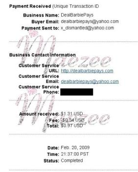 My Deal Barbie Dollar Click PayPal payment! - This is my first payment from DBDC. 