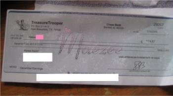 My 1st TT Payment! - This is the first payment (check) I've gotten from Treasure Trooper in Decemebr 2008 (a couple of months ago). I really love this site!  http://www.treasuretrooper.com/beamember