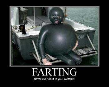 Farting - farting in wet suit