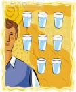 eight glasses of water - shows the no. of glasses of water a human needs in a day with all reasons pointing out to being beneficial to health.