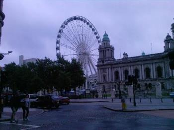 "Ferris Wheel - ""The Belfast Wheel"",Belfast,Northern Ireland,in the grounds of City hall...It's actually positioned above the Titanic Memorial ! (Built here..)"