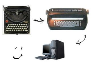 From stone age to modern - Remington Portable, IBM Selectric, then came the computer.