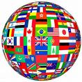 simplified economics - globe with different flags of different countries