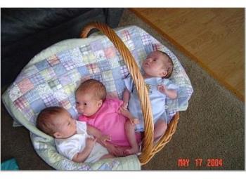 triplets in a basket - triplets in a basket, babies in a round basket, three babies in a basket