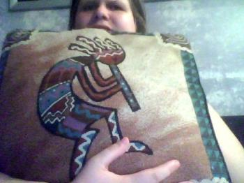 Kokopelli pillow from Sedona Arizona - One of the four pillows that my husband brought me from Sedona, from our old apartment.