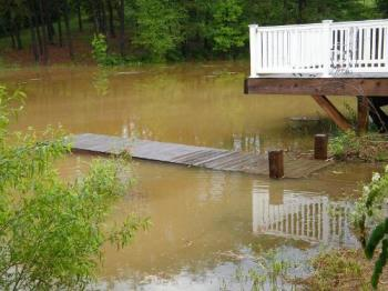 """Our Pier - This was taken last Friday when we got over 3"""" of rain in under one hour! I was ready to start building an ark!"""