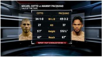 Taleof the tape - A brief summary comparing paquiao and Cotto!