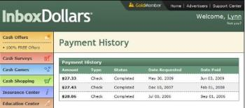 InBoxdollars payout history - Here is the screen shot of my InBoxDolars payout history. This makes my 3rd payout since joining. http://www.inboxdollars.com/?r=ref16424