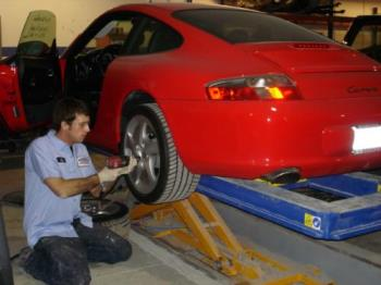 My son at work - He loves his job in collision repair.