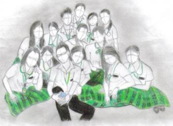 my drawing - of my friends at my university