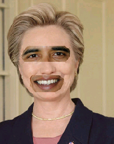 when the mask comes off - barack obama wearing hillary clinton mask