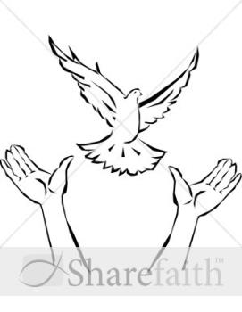 Hands releasing dove - Hands releasing dove - clip art