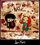 Give me my heart back! Love Stinks! - Picture of a couple and one wanting their broken heart back