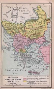 The Balkans in 1878 - A map of the Balkans one year after Romania gained its Independence. It shows what territories the Ottoman Empire lost in the war against Russia and its allies.
