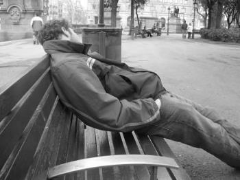 the homeless people - there are more and more people who have lost their houses for the the slump of the economics.