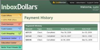InBoxDollars payout history - Here is my payout history with InBoxDollars. On my last request I made sure to request payout before the end of the month and they cut my check less than 5 days later. The timing of your request can seriously delay or speed up your payout. The first two requests were just after a new month began and took over a month to process.