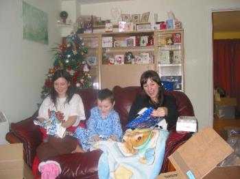 Boxing day with all three of mine looking excited  - Boxing day with all three of mine looking excited opening presents