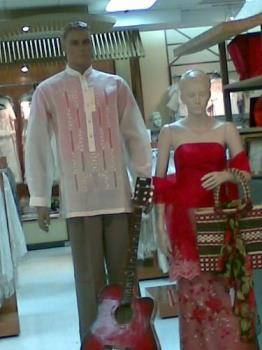 """gowns - gown and """"barong tagalog"""" (national costume for the Philippines) for the men, in beautiful hand emboidery"""