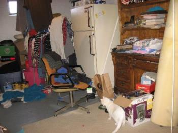 Cluttered basement room - One room only is this way. Kind of.