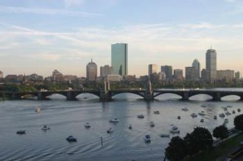 Boston - Boston skyline with boats on the river