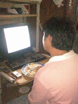 Internet - He is on internet.