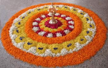 Pookalam on Onam - This the floral decoration at the time of Onam, the festival of South Indian State.
