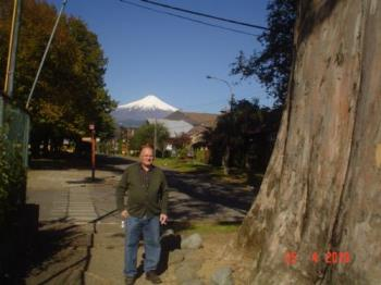 Villarrica volcano - I took a picture of my cousin with the volcano in the background and a giant tree on the side. The sights were beautiful. I don´t know yet how the pictures came out because I´m not a very good photographer.