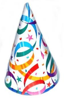 Party Hat - This is a picture of a party hat. Something that is commonly worn at a surprise party.