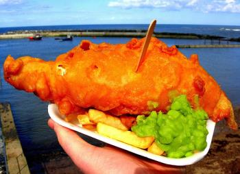 Fish, chips and mushy peas - Fish, chips and mushy peas has to be one of the favourite British dish!!