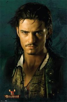 """Orlando Bloom as Will Turner - My Favorite Pirate. - William """"Will"""" Turner, Jr. is a main character in the Pirates of the Caribbean film trilogy. He was played by Orlando Bloom. Will is a blacksmith's apprentice working in Port Royal. He is in love with the governor's daughter, Elizabeth Swann (Keira Knightley), although he occupies a lower social class than she. Will is an exceptional swordsman, although he lacks actual combat experience. Although mild mannered, Will is brave, as seen when he confronts Captain Jack Sparrow in a sword fight and by his response to Barbossa's attack on Port Royal. He is loyal to those he cares about and would risk everything to protect them, especially Elizabeth. This trait is seen throughout the films as Will's character develops more by his reaction to unforeseen circumstances rather than his personal ambition or deliberate choices. Most likely he would have continued plying his trade, never presuming to rise above his current station, pining for the woman he believes he can never have. At his best, Will is clever, heroic, and courageous and never shirks responsibility or leaves an obligation unfulfilled. He can also be preoccupied and brooding and, early on, demonstrated rather simplistic and naïve views, although his character gradually matures and deepens into a more complex man as the films progress."""