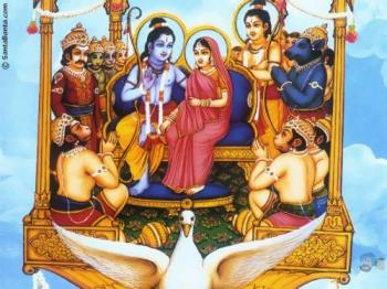 heaven - god Rama and sita are on a chariot...