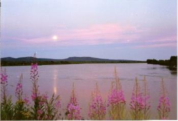 Summer Solstice Midnight Sun in North and the Moon - Welcome to visit us some time.. :)