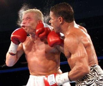 This is a picture of a Great Knockout Punch in Box - This is a great k.O. Punch in Boxing. Its a right hooker here!