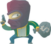 a robber or someone who takes what doesn't belong  - A cartoon man in a mask holding a gun and a bag of money.