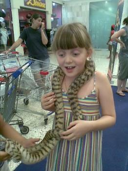 My daughter with snake  - Kayla and her new friend