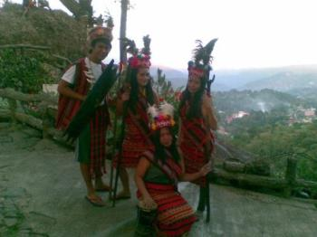 My cousin in Baguio - My cousin and her college friends went to Baguio and wore a tribal costume for picture taking