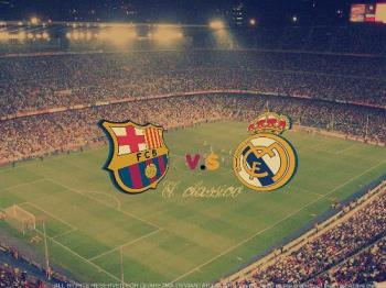 El Classico picture - A picture of Camp Nou, with the logos of Barcelona and Real Madrid and the El Classico inscription